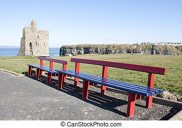 benches and path to Ballybunion castle