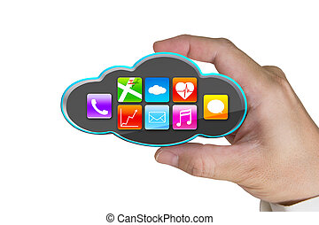 hand holding black cloud with app icons isolated on white -...