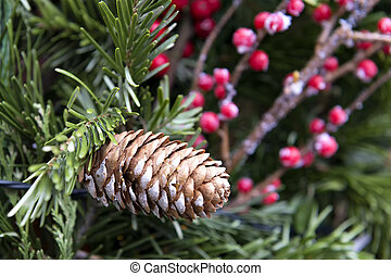 Decoration pine cone Christmas Market - Image of a pine cone...