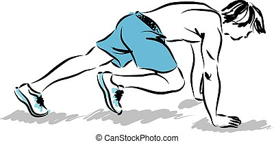 man athlete stretching exercises illustration