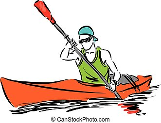 man in a kayak sport illustration