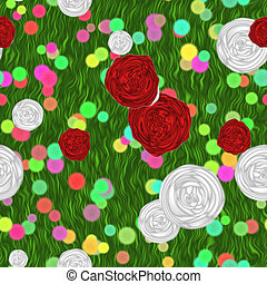 Painted flowers on green meadow