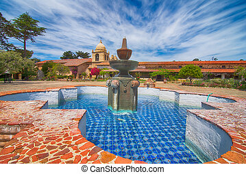 Carmel mission fountain - Beautiful fountain in the...