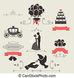 Set of vintage elements for wedding