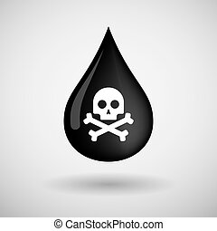 Oil drop icon with a skull - Illustration of an oil drop...