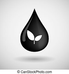 Oil drop icon with a plant - Illustration of an oil drop...