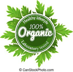 Organic round logo sign label with green leaves. Eps10...
