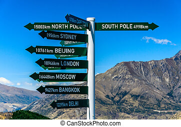 Direction sign to famous cities Queenstown New Zealand