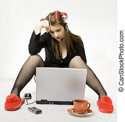 Telecommuting - Multi Tasking Woman balancing Life Work,...