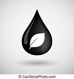 Oil drop icon with a leaf - Illustration of an oil drop icon...