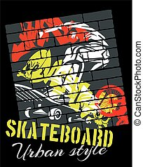 Skateboarding - urban style, vector illustration -...