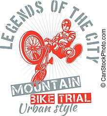 Mountain bike trial - vector design - Mountain bike trial -...