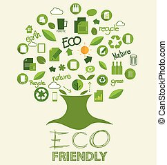 Vector ecology concept, Tree with icons. Vector Illustration.