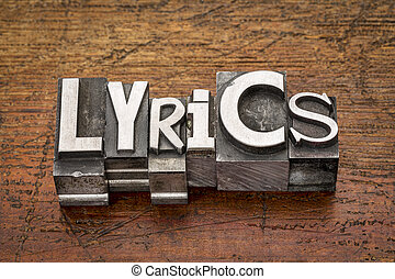 lyrics word in metal type - lyrics word in mixed vintage...