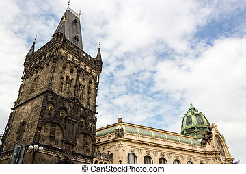Prague Municipal House and Power Tower - Obecni Dum...