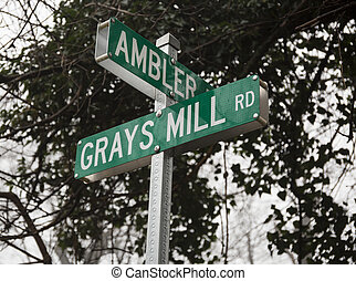 Street sign in Fauquier County VA - Grays Mill Road and...
