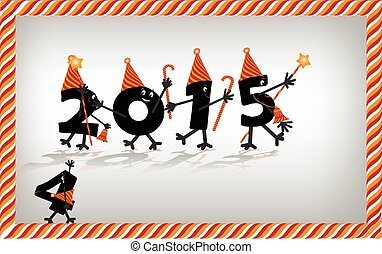 Comic, 2015, New, Year's, Eve, character, vector