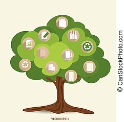 Vector ecology concept, Tree with icons. Vector...