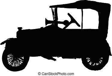 retro car - black silhouette of retro car