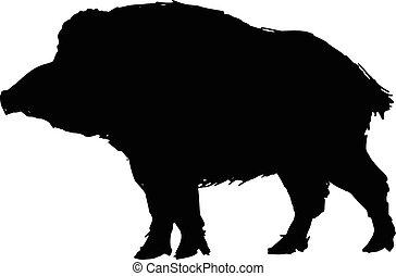 wild boar - black silhouette of wild boar