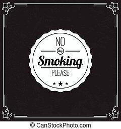 Please no smoking label. No smoke tag. Stop smoking symbol....