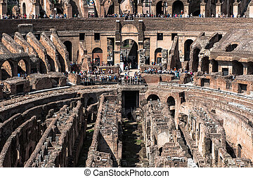 View to the amphitheater inside of Colosseum in Rome, Italy...