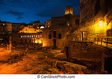 View of night Rome, Italy