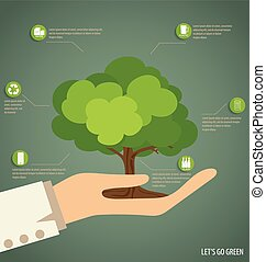Hand holding Tree. Vector Illustration.