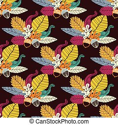 Seamless pattern with acorns and oak leaves Vector...
