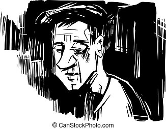 thinking man sketch drawing illustration - Black and White...