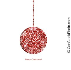 Christmas background with Christmas ball, vector illustration.