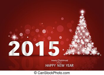 2015 Happy New Year background with Christmas tree. Vector...