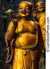 Lingyin Temple Monk - Detail of A Happy Monk on Guanyin, a...