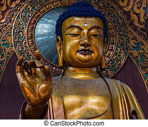 Lingyin Buddha - Buddha statue in Lingyin Temple, Hangzhou,...