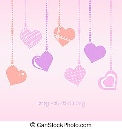 Hearts - Valentines Day - Vector - pink hanging Hearts with...