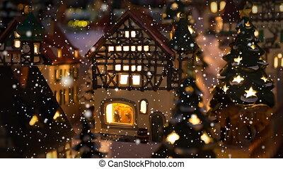 Small winter village scene and snow - Small christmas winter...