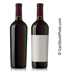 red wine bottle - Blank red wine bottles isolated on white...