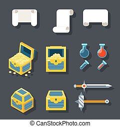 RPG Game Accessories Icons Set Scrolls Treasure Chests...