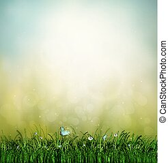 Grass, Flower And Butterfly