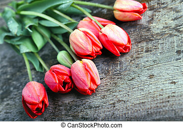 tulips  - vintage wooden background with tulips