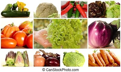 diverse vegetables montage - vegetables collage including...