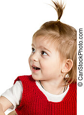Little cute girl with an open mouth - Portrait of a little...