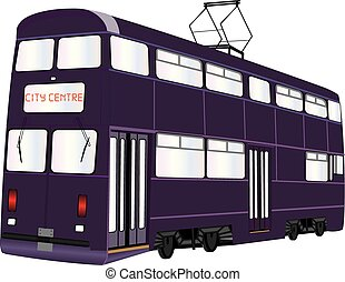 Double Deck Tramcar - A Double Deck Tramcar isolated on...