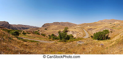 Armenia - The asphalt road in the mountains of Armenia