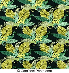 Seamless pattern with acorns and oak leaves. Vector...