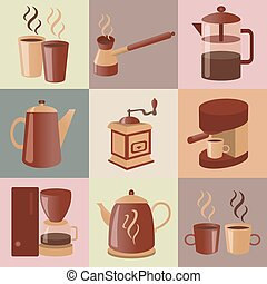 Equipment for making coffee, set infographics elements...