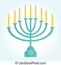 jewish holiday Hanukkah background with menorah Burning...