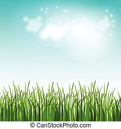 Vector illustration green summer field with flowers and...
