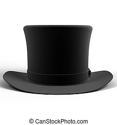 Cylinder hat - Black top hat isolated on white background