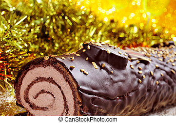 yule log cake, traditional of christmas time - a yule log...